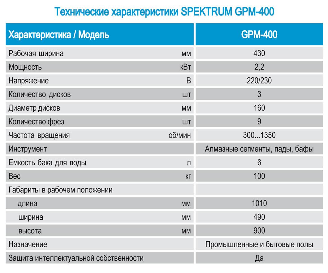 Tekhnicheskie kharakteristiki shlifovalnoj mashiny po betonu  GPM-400  MSh-400