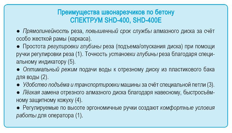 Preimushchestva, vygody shvonarezchika benzinovogo SHD-400  i elektricheskogo SHD-400E