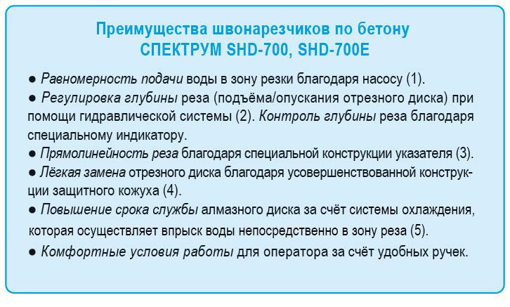 Shvonarezchik po betonu Spektrum SHD-700 Preimushchestva