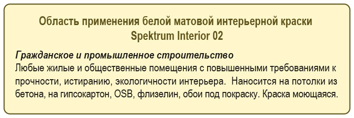 Primenenije kraski beloj matovoj Spektrum Interior 02