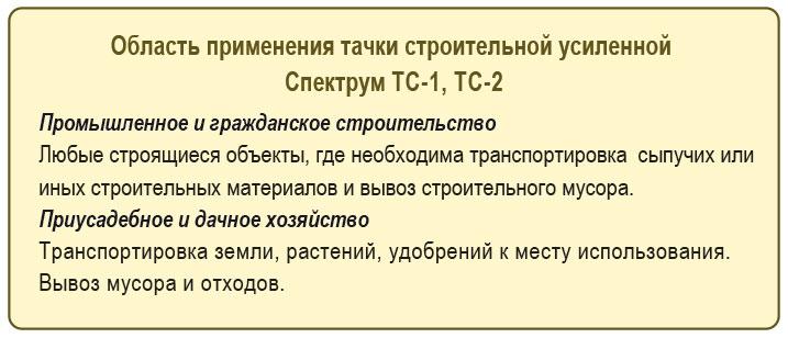 Primenenije tachki stroitelnoj usilennoj Spektrum  TS-1, TS-2