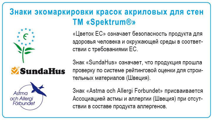 Znaki ekomarkirovki dlya kraski Spektrum Interior 07, uznaj tsenu v magazine Spektrum