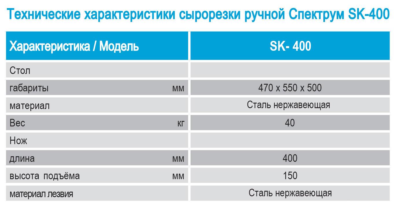 Технические характеристики, параметры, показатели сырорезки ручной SK-400 (СК-400) от Спектрум